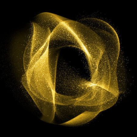 Abstract gold glittering wavy gas fractals of star dust