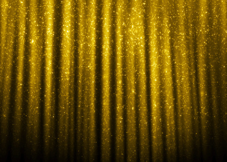 sparkles: Gold sparkle glitter curtains background.