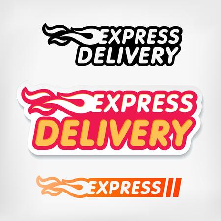 cibo: Esprimere simboli di consegna. Vettore. Adesivi clip art consegna espressa impostati.