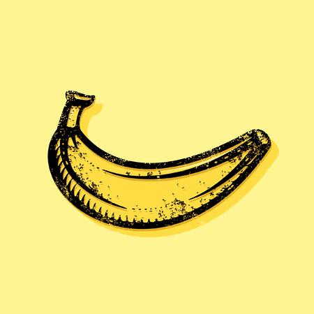 banana peel: Hand drawn banana artwork for t-shirt print. Modern banana icon design, banana graffiti