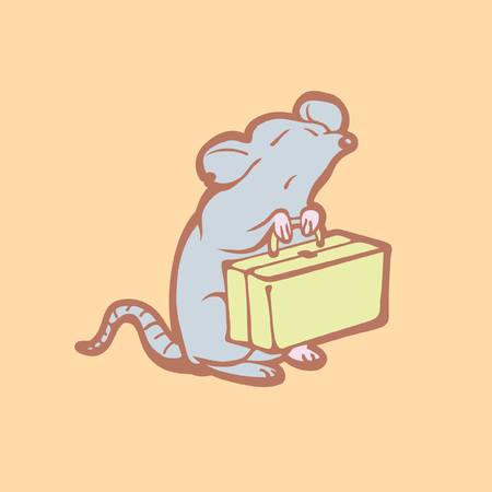 get out: Illustration of mouse leaving home. Pest control concept. Destruction of rodents. Cartoon rat get out.