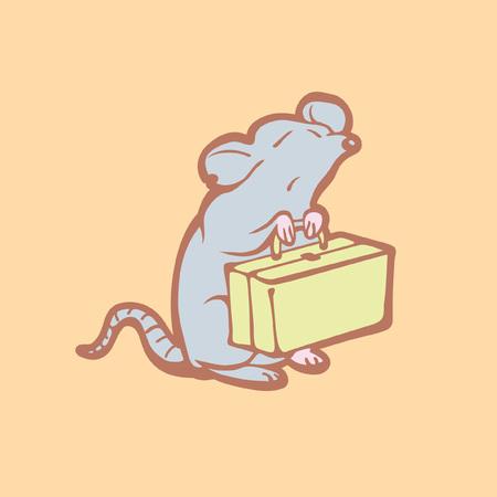 valigia: Illustrazione del mouse uscire di casa. Concetto di controllo dei parassiti. Distruzione di roditori. Cartoon topo uscire. Vettoriali