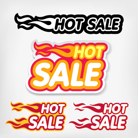 hot deal: Vector price reduction tags. Hot Sale concept Illustration
