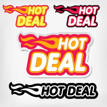 Vector price reduction tags. Hot Deal concept