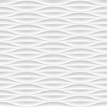 gyps: White seamless texture. Wavy background. Interior wall decoration. Vector interior panel pattern.