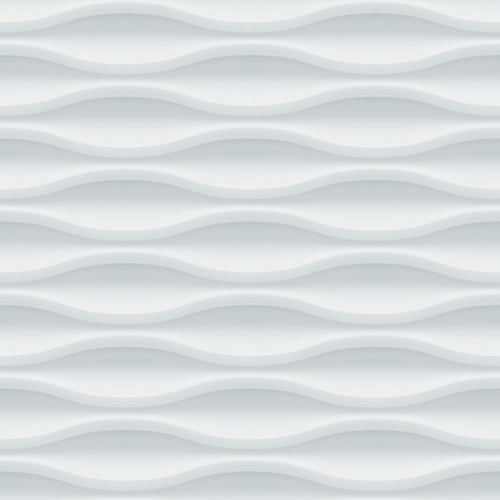 ceramic: White seamless texture. Wavy background. Interior wall decoration. Vector interior panel pattern.