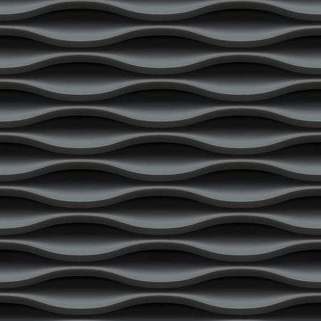 interior decoration: Black seamless texture. Wavy background. Interior wall decoration. Vector interior panel pattern.