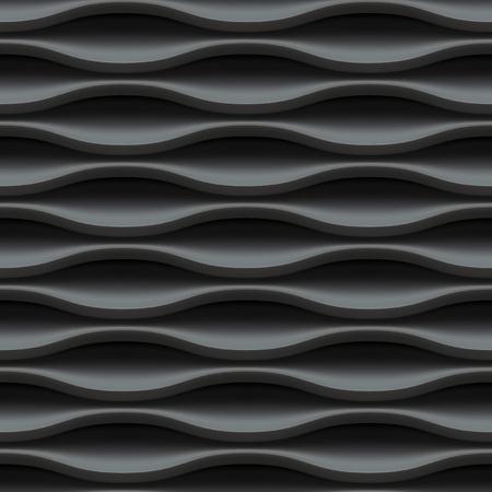 interior wall: Black seamless texture. Wavy background. Interior wall decoration. Vector interior panel pattern.