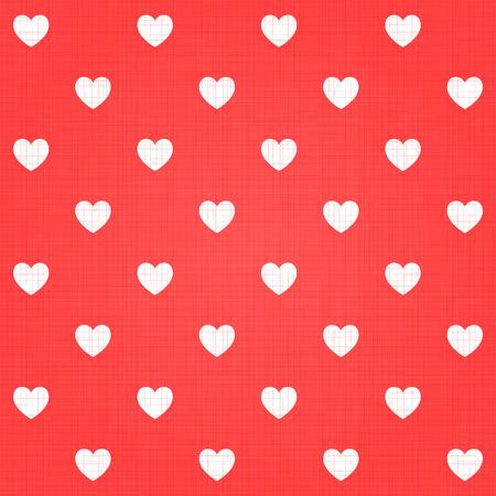 linen texture: Seamless hearts pattern with linen retro texture