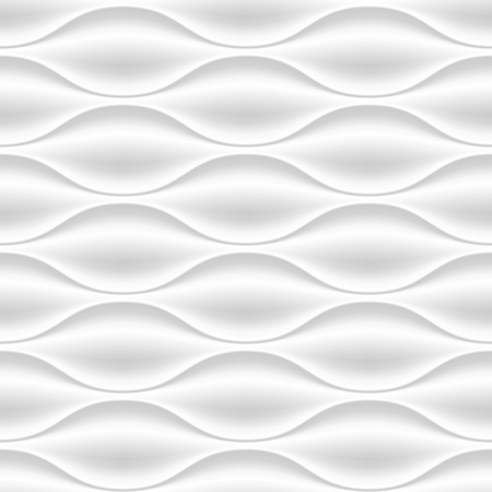 relief: White seamless texture. Wavy background. Interior wall decoration. Vector interior panel pattern.