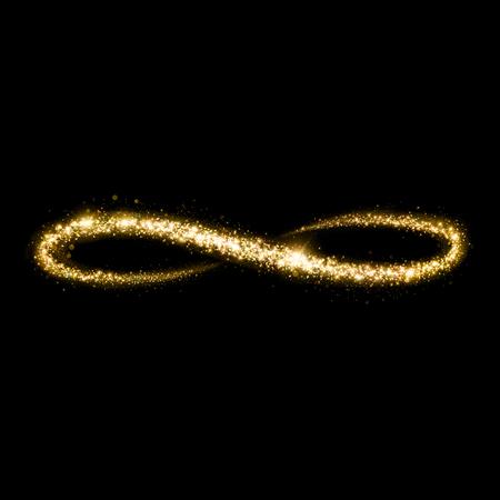 Gold glittering star dust infinity loop. Twinkling ellipse.