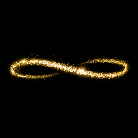 infinito simbolo: Oro brillante polvo de estrellas bucle infinito. Abrir y cerrar elipse. Foto de archivo
