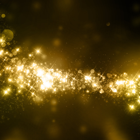 are gold: Glittering defocused star sparks on bokeh background