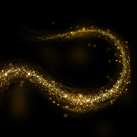 black background abstract: Glittering gold dust tail. Twinkling glitter hook shape