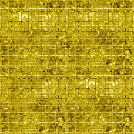 sparking: Seamless gold sparking and glittering mosaic background. Glittering sequins wall. Stock Photo