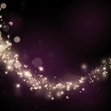 ボケ味の暗い背景に星がきらきら輝く