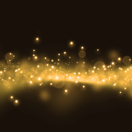 wave backdrop: Gold glittering stars dust trail on dark background