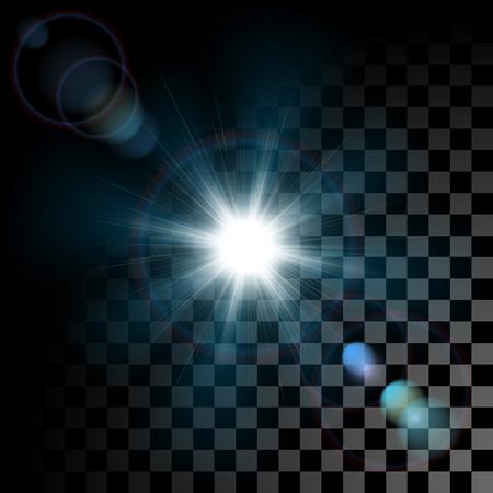 Vector de brillantes explosiones de la estrella de efectos de luz con destellos en el fondo transparente. difracción de rayo de sol transparente con efecto bokeh. Ilustración de vector