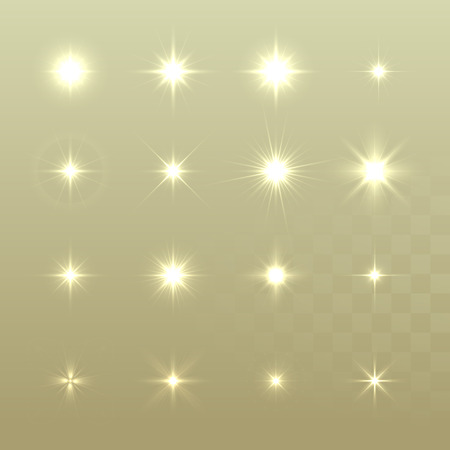 christmas stars: Set of Vector glowing light effect stars bursts with sparkles on golden background. Sparkling stars set. Christmas stars.