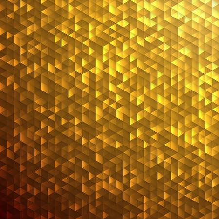 Goudgeel glinsterende pailletten lamina mozaïek hoekig dimensionaal patroon. Stock Illustratie