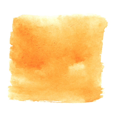 white textured paper: Orange brown watercolour abstract square painting. Hand painted aquarelle art. Illustration