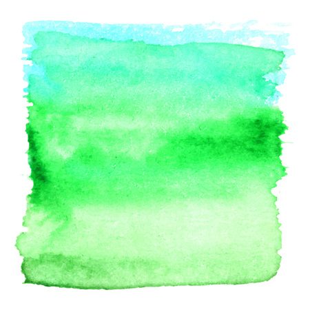 hand painted: Blue green watercolour abstract square painting. Hand painted aquarelle art. Illustration