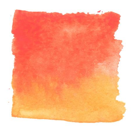 赤オレンジ抽象平方水彩画。手描きの aquarelle アート。