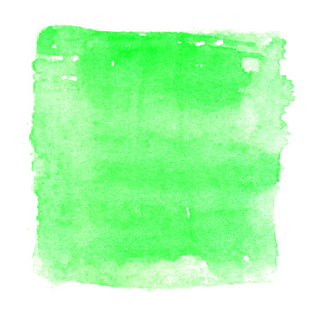white textured paper: Green watercolour abstract square painting. Hand painted aquarelle art.