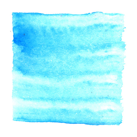 aquarelle: Blue watercolour abstract square painting. Hand painted aquarelle art.