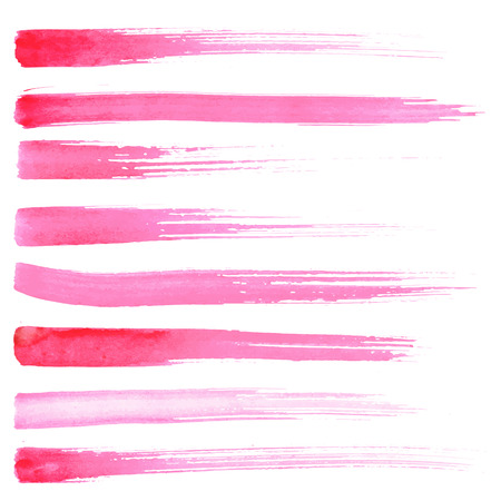 Set of vector brush strokes. Watrecolor red pink brush hand painting on white background.