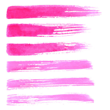 hand torn: Set of vector brush strokes. Watrecolor red pink brush hand painting on white background.