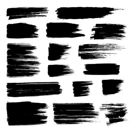 cepillo: Conjunto de pinceladas vector. Negro pintura de la mano cepillo en el fondo blanco. Vectores