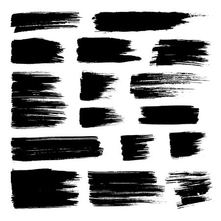 Set of vector brush strokes. Black brush hand painting on white background.