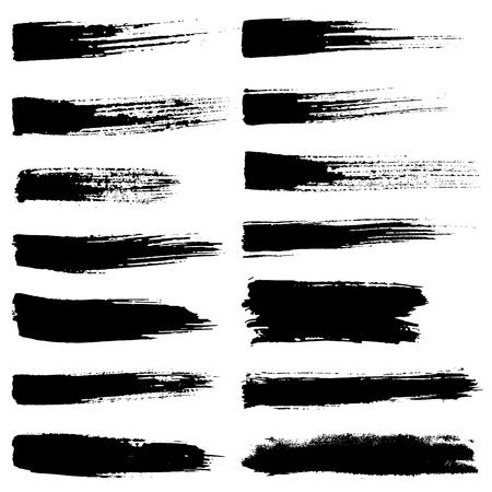 Set of vector brush strokes. Black brush hand painting on white background.