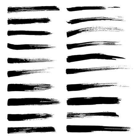 rayas de colores: Conjunto de pinceladas vector. Negro pintura de la mano cepillo en el fondo blanco. Vectores