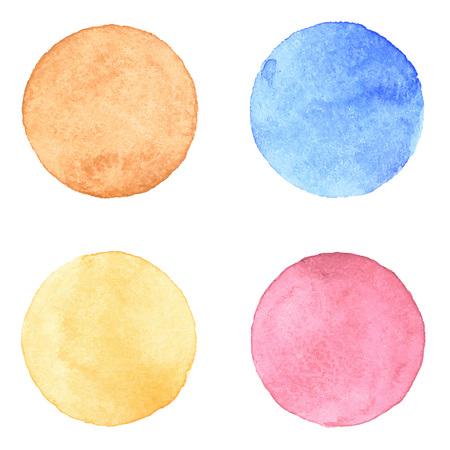 aquarelle: Aquarelle peint à la main texturé collecte des cercles sur fond de papier blanc. Orange, brun, rose, bleu