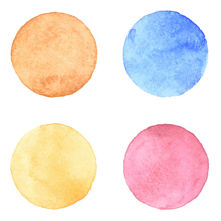 splatter: Watercolour handpainted textured circles collection on white paper background. Orange, brown, pink, blue