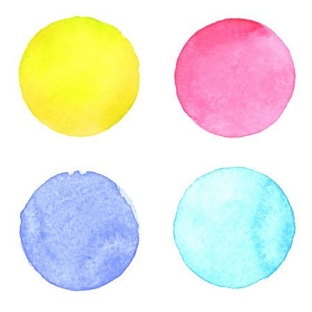 blue circle: Watercolour handpainted textured circles collection on white paper background. Yellow, pink, blue, aquamarine