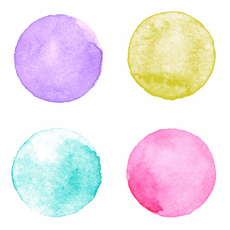 Watercolour handpainted textured circles collection on white paper background. Violet, yellow, aquamarine, pink