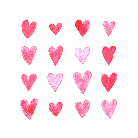 watercolor brush: Set of watercolor brush painted hearts for romantic love post card. Illustration