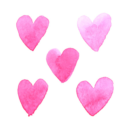 post card: Set of watercolor brush painted hearts for romantic love post card. Illustration