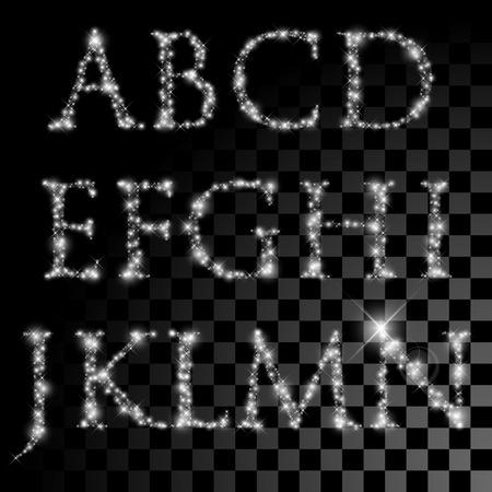 letras negras: Conjunto del alfabeto de las estrellas de plata brillante. Ilustración del vector de la Navidad cartas de estrellas brillantes. Vectores