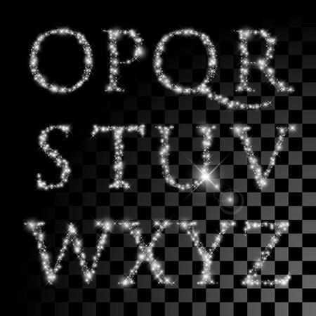 Alphabet set of silver glittering stars. Vector christmas illustration letters of shining stars.