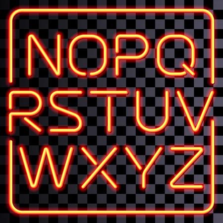 neon alphabet: Vector realistic neon letters. San-serif yellow neon alphabet.