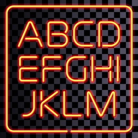 neon letter: Vector realistic neon letters. San-serif yellow neon alphabet.