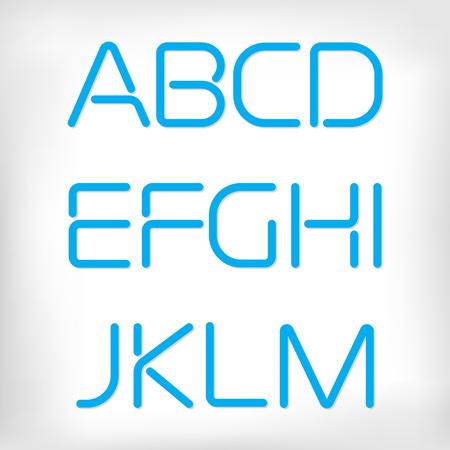 abecedario: M�nimo establecido alfabeto fuente redondeada moderna. Sans-serif pantalla de ne�n fuente elegante. Grueso, versi�n negrita