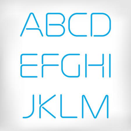 beautiful: Modern minimal rounded font alphabet set. Sans-serif neon display elegant font. Normal, regular version