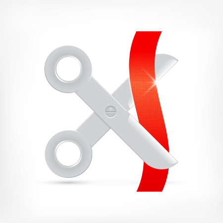 simple cross section: Scissors icon cutting red ribbon