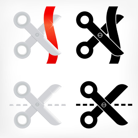 scissors cutting paper: Scissors icons set cutting with dash line and ribbon Illustration