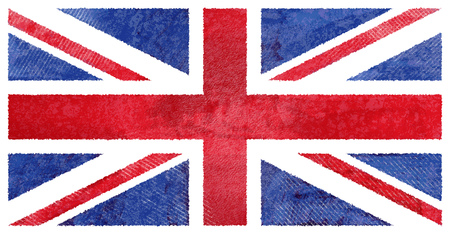 aquarel: Watercolor hand painted UK flag, watercolor British flag Stock Photo